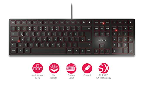 CHERRY KC 6000 Slim - USB Keyboard - Ultraflaches Design - Kabelgebunden - Deutsches Layout - QWERTZ Tastatur - Schwarz