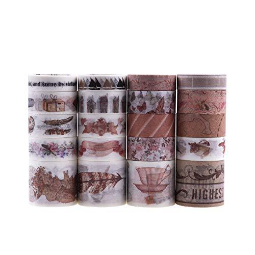20 Rollos Cinta Adhesiva Vintage, Lychii Decorativas Washi Tape Set para Scrapbooking, Manualidades, Marcos de Fotos, Bullet Journal y Decorar Regalos