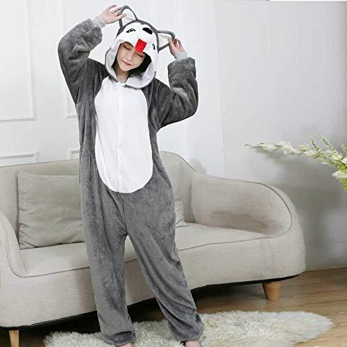JIAWEIDAMAI Pijamas De Animales Husky Dog Onesies para Adultos Mujeres Hombres Pijama De Dibujos Animados Cosplay Disfraz De Halloween Divertido Pijamas De Una Pieza
