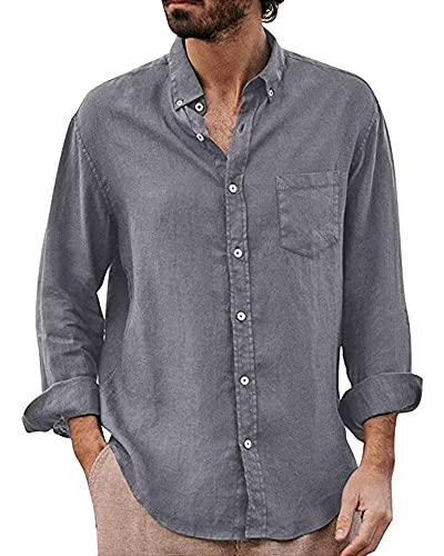 YAOHUOLE Camisa de lino de manga larga para hombre, con bolsillo en el pecho, corte regular, gris, XXL