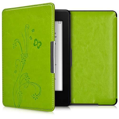 kwmobile Hülle kompatibel mit Amazon Kindle Paperwhite - Kunstleder eReader Schutzhülle Cover Case (für Modelle bis 2017) - Ranken Schmetterling Hellgrün