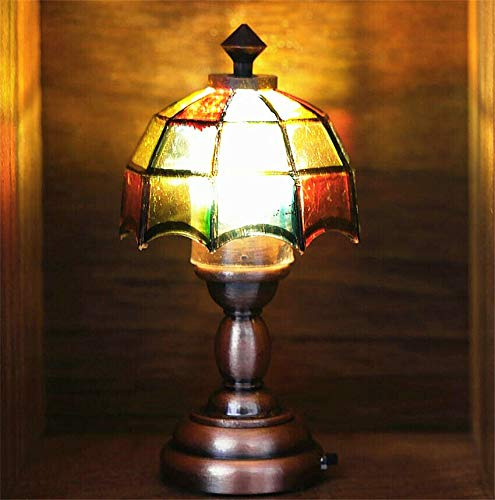 EatingBiting 1:12 Dollhouse Miniature Mini Colorful Round Semitransparent Umbrella Shape lampshade Dollhouse Table Lamp Mini Light for Dolls House Furniture Lamp for DIY Scene Doll Home Craft