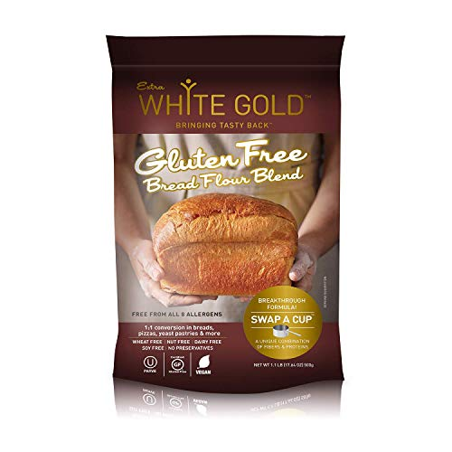 Extra White Gold Gluten Free Bread Flour Blend – Kosher, Vegan Recipe For Breads, Yeasted Pastries , Pizza, Focaccia – Wheat, Soy, Nut and Dairy Free – 1.1 Pound