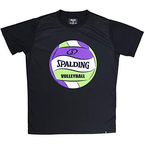 SPALDING(スポルディング) バスケットボール バレーボール Tシャツ ボールプリント SMT200740 ブラック XSサイズ バスケ バスケット