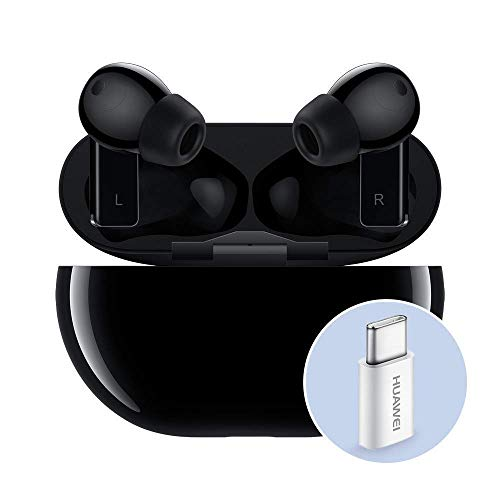 HUAWEI FreeBuds Pro con Adattatore Huawei AP52, Auricolari True Wireless Bluetooth con Cancellazione Intelligente del Rumore, Sistema a 3 Microfoni, Ricarica Wireless Rapida, Carbon Black