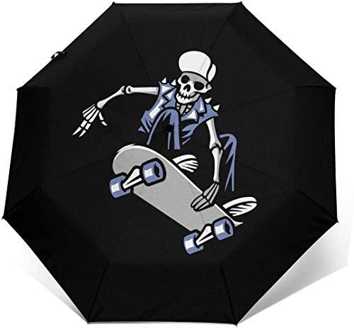 Totenkopf Punk Ride Skateboard Automatik Dreifach Faltbarer Regenschirm Sonnenschirm Sonnenschutz Außen Druck