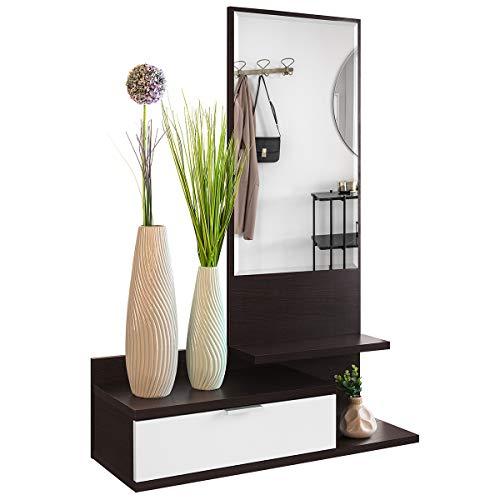 Recibidor Colgante - Mueble de Entrada con Cajón, Espejo y 3 Estantes de Estilo Nórdico y Moderno, Muy Resistente y Estable, de Color Blanco y Wengue