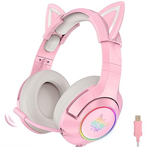 Auriculares Auriculares para Juegos de Color Rosa con Orejas de Gato extraíbles, con Sonido Envolvente, micrófono retráctil con cancelación de Ruido Ligero …