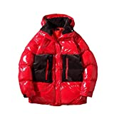 Men Jacket Thick Warm Jackets Hip Hop Men's Hooded Jacket Large Size Casual Coat,Red,Chinese Size M