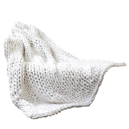 Qiekenao Manta de punto gruesa, hecha a mano, de lana, para mascotas, sofá, cama, decoración del hogar, regalo, tela, Blanco, 80*100