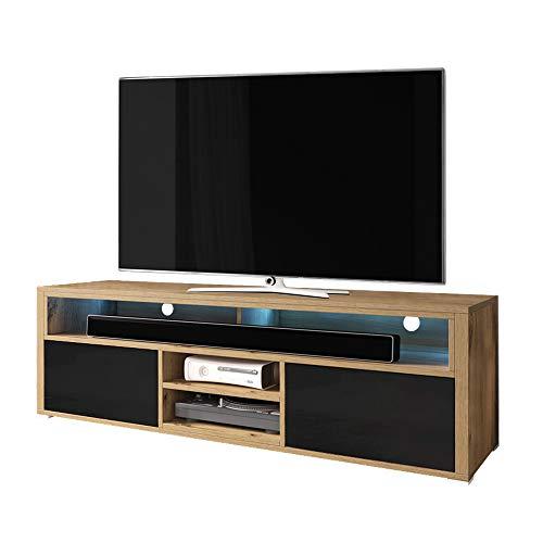 Selsey Mario - Mueble TV/Mesa TV en Estilo Nordico/Mueble para Salon (con LED, Roble Dorado/Negro Brillante)