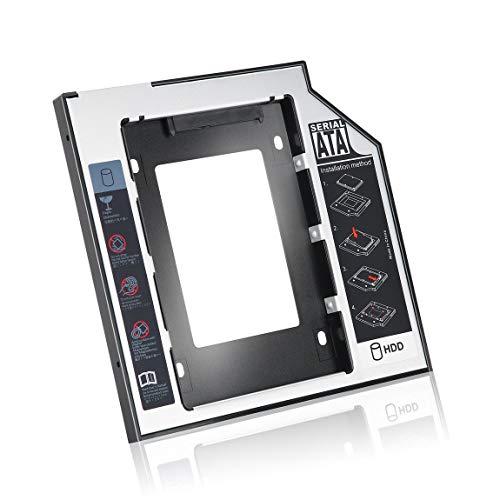 SeniorMar Caddy de Unidad de Disco Duro SSD SSD Universal de Aluminio de 9,5 mm con 4 Tornillos para Adaptador de bahía óptica de CD/DVD-ROM
