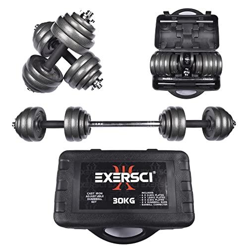 Exersci Cast Iron Adjustable Dumbbell/Barbell Box Set 20kg/30kg (30)