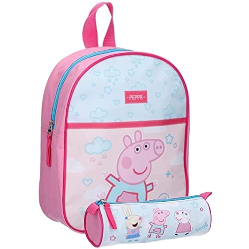 Peppa Pig - Zaino per bambini per asilo, 28 x 22 x 10 cm, con astuccio