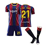 Camiseta de fútbol para niños-21# de Jong Uniforme de Entrenamiento Unisex Camiseta de Atleta Malla de Secado rápido Sudadera de Manga Corta para fanáticos-XXS