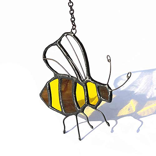 HAOSUM Stained Glass Honeybee Window hangings Ornament suncatcher 3.35×2.36 inch