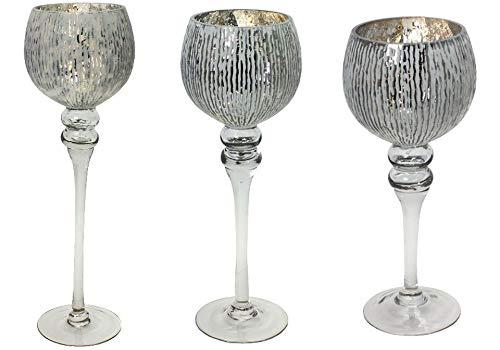 3-delige Glazen bol windlicht set H40/35/30 cm met wit/zilveren kelk op voet kandelaar kandelaar kandelaar kandelaar kandelaar