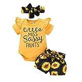 Newborn Baby Girl Romper Bodysuit Jumpsuit Shirt Top Ruffle Floral Shorts Pants Headband Summer Clothes Set (Sunflower-Shorts, 6-12 Months)