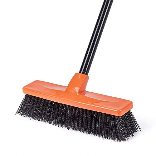 Push Broom Multi-Surface Outdoor Broom with Stiff Bristles for Sidewalk Driveway Yard Patio Decks Garage Bathroom Cleaning