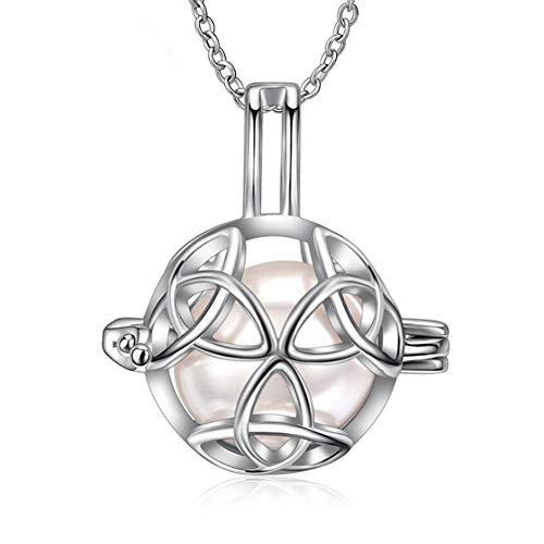 S925 Sterling Silver Ball Cage Pendants, Locket Charms, Celtic Knot Necklace, Design Pearl Cage Pendants for Adorable Gift LSN147