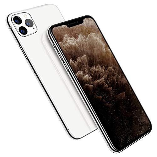 EANSSN - Teléfono inteligente de 6,5 pulgadas con pantalla completa con flecos, batería de 2800 mAh, reconocimiento de la cara, Android 6.0, reverso de vidrio, todo en uno, 8 GB + 512 GB, color blanco
