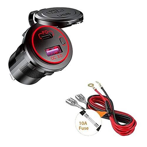 Heritan Cargador de coche PD tipo C USB y cargador rápido QC 3.0, toma de corriente de 12 V con interruptor de encendido/apagado, para motocicleta, RV, ATV, rojo