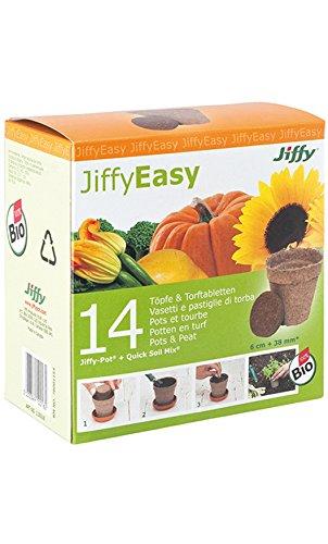 14 Pots Végétaux (Semis, Plantation) et Disques de Tourbe Deshydratée - 100p100 Bio JiffyEasy