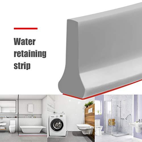 Deng Xuna Duschsperre Water Retaining Strip Shower Barrier Faltbare Dusche Schwellen-Duschsperre und Rückhaltesystem Silikon Duschwasserstop Wasserdichter Streifen (0.5m)
