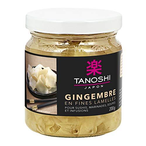 Tanoshi Gingembre en lamelles - Pour sushis, marinades, soupes et infusions - 1 pot 200 g
