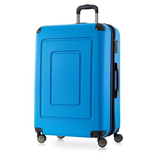 Happy Trolley - Lugano - Hochwertiger großer XL Koffer, Bruchfest, Hartschalen-Trolley, leicht, TSA Schloss, Volumenerweiterung, 4 leise Doppelrollen, Reisekoffer Trolley, 76cm, 113L, Cyan Blau