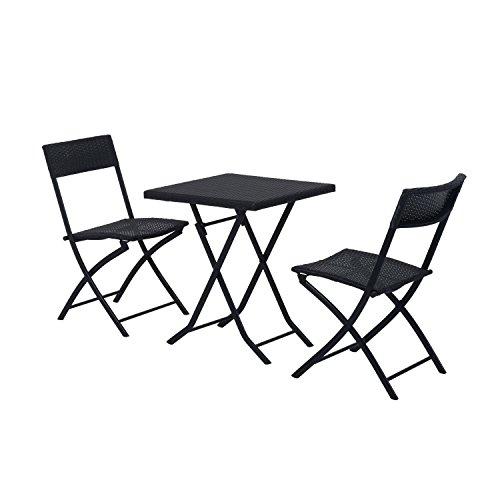 Outsunny 3tlg. Sitzgruppe Bistroset Polyrattan Essgruppe Gartenmöbel Tisch-Stuhl Set Balkonmöbel Garnitur Schwarz