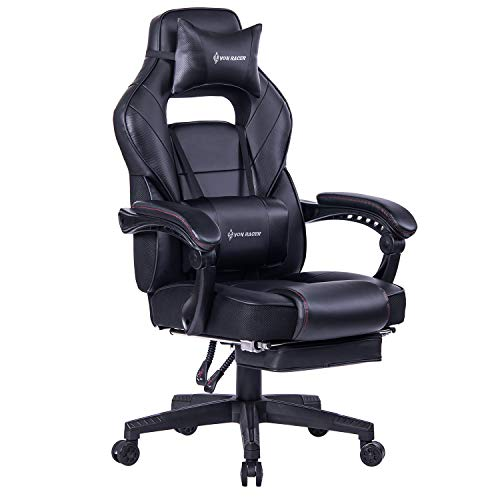 VON RACER Massage Reclining Gaming Chair, Ergonomic High-Back Racing Computer Desk Office Chair with Retractable Footrest and Adjustable Lumbar Cushion (Black)