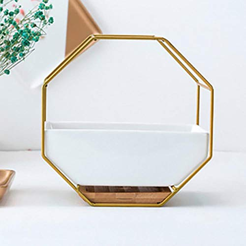 WYCYZJ Nordic ceramic flower pot succulent geometric flower pot metal flower pot hanging flower pot bamboo orchid frame,gold