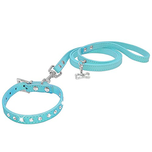 YSSDZYYMXD Collars De Gato De Cachorro, para Chihuahau Yorkshire Clear Rhinestone Diamante Soft Soft Y Correa Perro,Azul,8~10cm