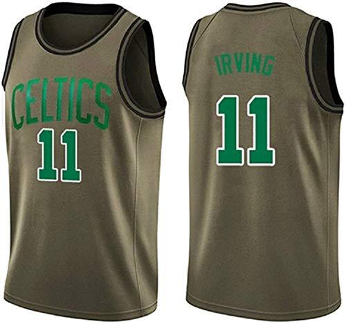 WSWZ Maglie da Uomo NBA, Boston Celtics NBA 11# Kyrie Irving Maglie da Basket, T-Shirt Unisex Confortevole Canotta Sportiva da Basket,C,L(175~180CM/75~85KG)