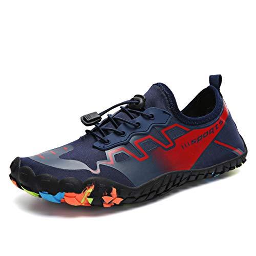 Zapatos de agua para hombre y mujer, de secado rápido, antideslizantes, adecuados para esnórquel, wading, montañismo y senderismo calcetines de agua (color azul, tamaño: 38 EU)