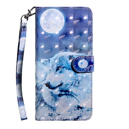 LG K61 Hülle, LG K61 Handyhülle mit Kartenfach Geld Slot Ständer Magnet PU Ledertasche TPU Bumper Wallet Case Flip Tasche Schutzhülle Handytasche für LG K61 Mond Wolf