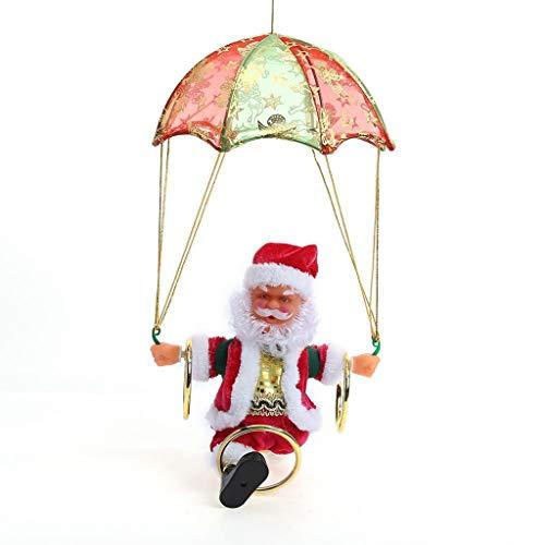 Artistic9 Weihnachten elektrische Weihnachtsmann Puppe singen und tanzen animierte Plüschtiere mit Mini-Fallschirm Hula Hoop batteriebetriebene Musik Weihnachtsfeiertag Beste Girft für Kinder