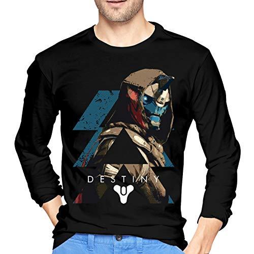 LiYang De-STI_NY 2 Ca-Yde-6 Camiseta de algodón para Hombre Fashionlong Sleeve Camiseta de Cuello Redondo Large Black