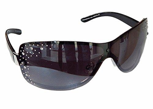 Sonnenbrille Damenbrille mit Strasssteinen Brille Monoglas Sportlicher Style Damen M 33 (Schwarz Silber)