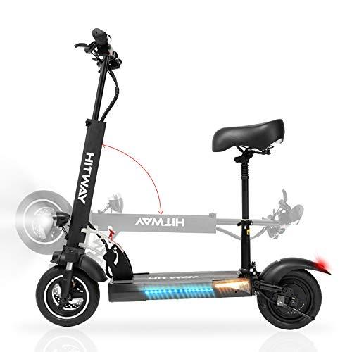 HITWAY Scooter eléctrico para adultos, plegable, con asiento, scooter eléctrico plegable con pantalla LCD, altura ajustable, motores de 800 W, velocidad máxima 45 km/h
