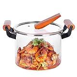 HUIJ Cacerola de Vidrio Transparente,Olla para Sopa de Vidrio Resistente al Calor,Olla para cocinar con Tapa,Mango de Madera,Olla para Cocina casera (20 cm)