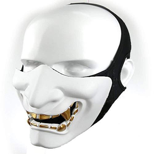 Supspy Samurai Airsoft Mask Tactical Prajna Half Face Ninja Hannya Oni Motorcycle Evil Demon Knight Kabuki Mask for Halloween Cosplay CS Game Hunting Shooting (White)