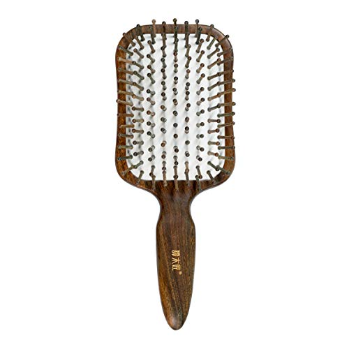 TAN MUJIANG Natural Wooden Paddle Hair Brush- Eco-Friendly 100% Wood Detangling Hairbrush for Women Men and Kids - Reduce Frizz and Massage Scalp