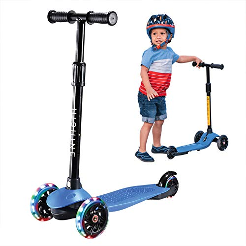 Kick Scooter for Kids Boys Girls, 3 Wheel Scooter for Toddler for 2-5 Years Old, Adjustable Height, Light Up Flashing Wheels, Removable Handlebar, Lean to Steer, Easy to Carry, Blue