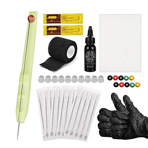 Anself Hand Poke and Stick Tattoo Kit DIY Tattoo Supply Tintenhandschuhe Ink Box Tattoo Nadeln Set 1RL / 3RL / 5RL / 7RL / 9RL Praxis Haut Tattoo Reparaturcreme