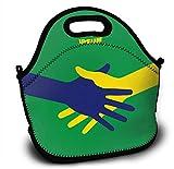Mochila de neopreno para niños con diseño de bandera de Brasil, con correa ajustable para el hombro