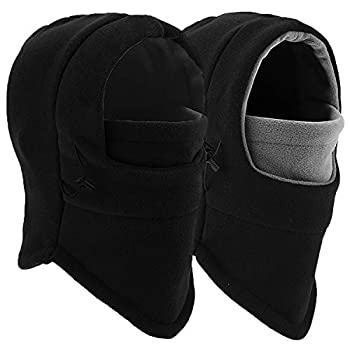 Balaclava Ski Mask - Windproof Fleece Adjustable Winter Mask for Men Women  Black+Black/Gray