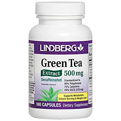 Lindberg Green Tea Extract Decaffeinated 500 Mg - Standardized to 95% Polyphenols, 75% Catechins and 45% EGCG (225 Mg)