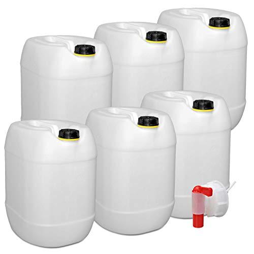 plasteo 6er Set: 30 Liter Getränke- Wasserkanister Natur mit Schraubdeckeln und 1 Ausgießhahn (DIN 61)   Lebensmittelecht   Tragbar und Robust   Indoor und Outdoor   BPA Frei   Made in Germany
